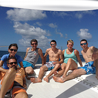 Group of friends having good time on their cruise