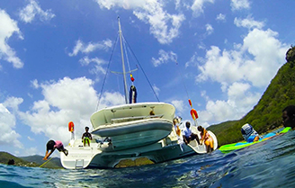 Friends and family enjoy their day, sailing charter in Antigua