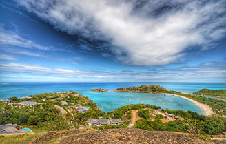 View of a beautiful bay in Antigua from the hilltop